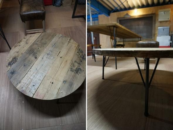 鉄脚,丸,ローテーブル,座卓,足場板