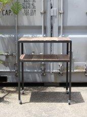 画像1: ≪ワゴン≫【キッチンワゴン USED足場板×黒皮仕様 アイアン/Used Ashiba Kitchen wagon】 (1)