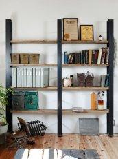 画像1: ≪シェルフ≫【ウォール・ブックシェルフ USED足場板×アイアン/2m×2m Ashiba-Book shelf】 (1)