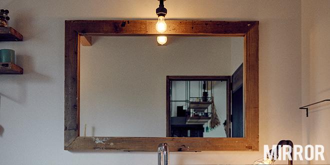 鏡,ミラー,姿身,店舗 什器,木製,木枠,無垢木,天然木,オーダー,製作