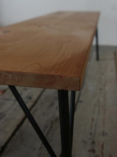 アイアンフレーム 杉無垢ハギ材 ダイニングベンチ 木色選択可 サイズオーダー可