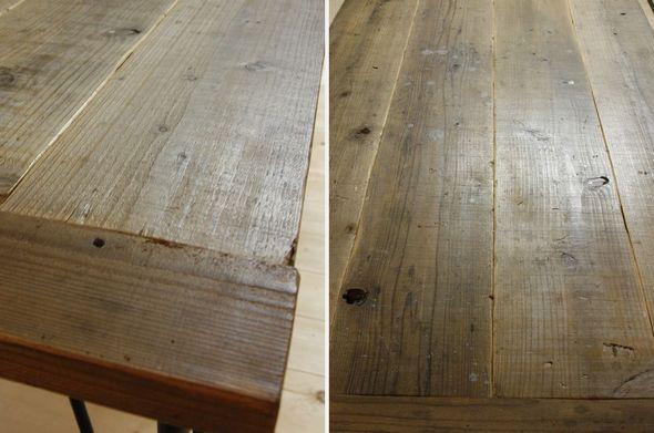 古材(USED足場板)と鉄足のテーブル