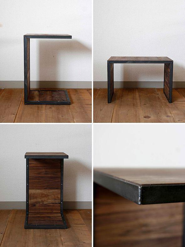 画像2: ≪サイドテーブル≫【無垢ウォールナット×アイアン コの字型