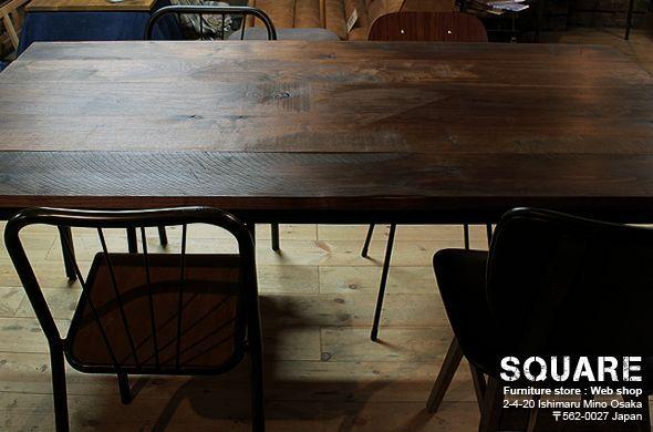 無垢ウォールナット,オーク,鉄脚,ダイニング テーブル,オーダー 製作,販売 通販
