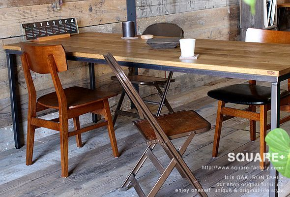 無垢オーク,鉄脚,ダイニング テーブル,オーダー 製作,販売 通販