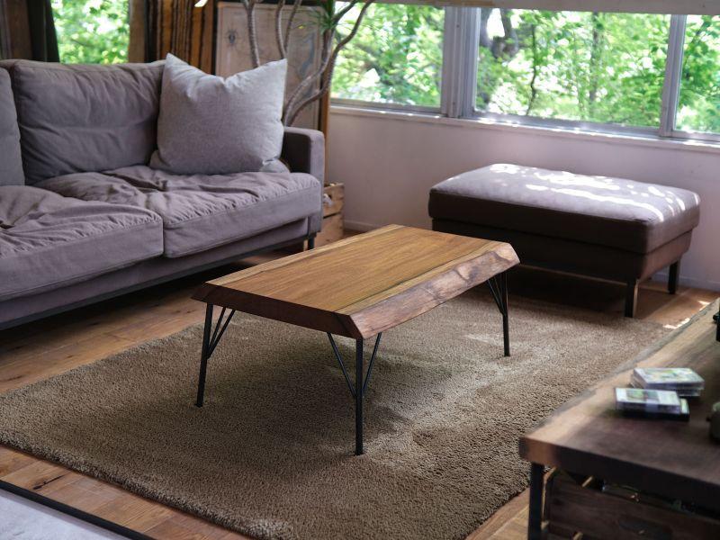 画像1: ≪完成品≫ローテーブル 無垢一枚板 アサメラ 鉄脚セット 930mm (1)