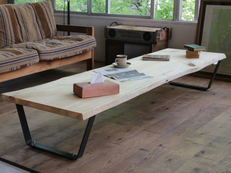画像1: ≪完成品≫ローテーブルイメージ 無垢一枚板 ユリノキ ゆりの木 2180mm (1)