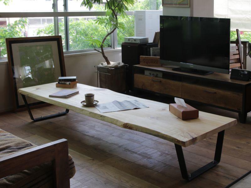 画像2: ≪完成品≫ローテーブルイメージ 無垢一枚板 ユリノキ ゆりの木 2180mm (2)