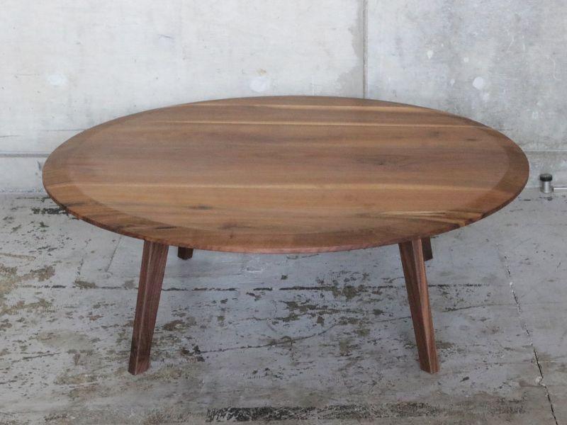 画像1: ≪ローテーブル≫【ラウンドローテーブル2面テーパー・木脚タイプ】 (1)